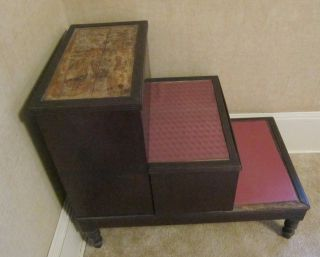 Antique Dark Tone Wood Step Table Or Chamber Pot Bedside Table - photo