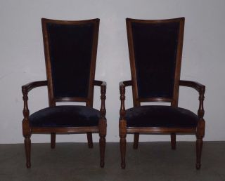 Vintage Pair Hollywood Regency High Back Lounge Arm Chairs Blue Velvet 022701 photo