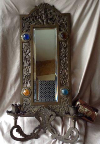 Antique French Art Nouveau Bronze Candle Sconce W/ Cherub,  Jewels,  Mirror & Flower photo