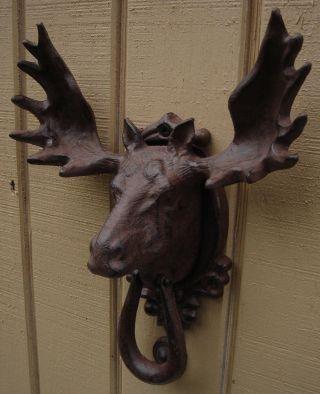 Cast Iron Moose/elk Head&antlers Door Knocker Rustic House&home Front Door Decor photo