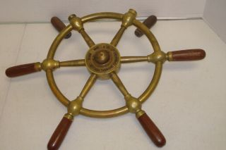 Vintage Brass & Wood Ship Wheel 17.  5