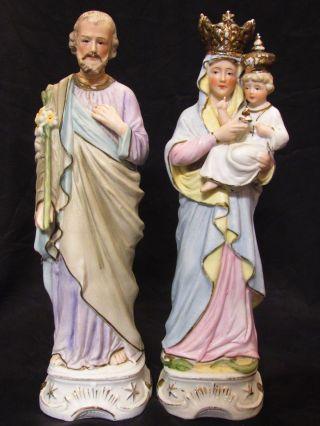G Dep Germany Antique Bisque Porcelain Figurine Statues 7486 Jesus Mary Joseph photo
