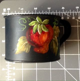 Toleware Tole Black Tin Cup Hand Painted Strawberry Artist Initials Mo photo