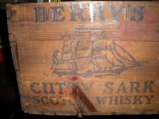 Antique Wood Box Berry Bros - Cutty Sark Scotch Whiskey Wine Crate Scotland photo