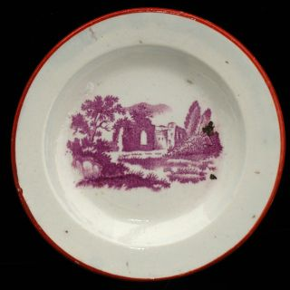 Rare Miniature Creamware Cup Plate Hackwood Abbey Ruins 1830 Staffordshire photo