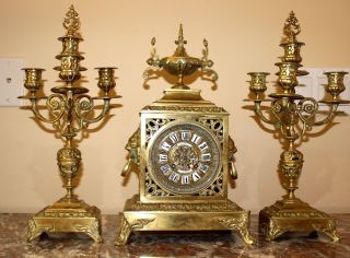 French Bronze Mantel Clock Cca 1890 With Two Candelabra Sgn.  Ed.  Armelin Paris photo