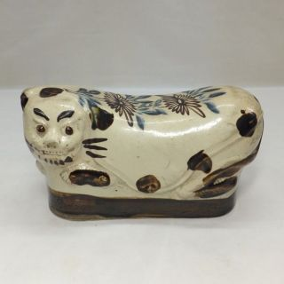 D552: Korean Joseon Dynasty Style Pottery Pillow Of Cat With Appropriate Work photo