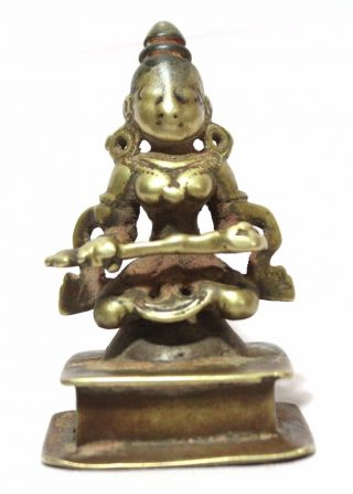 Old Vintage Hand Craved Brass Hindu Goddess Statue Very Fine Collectible photo