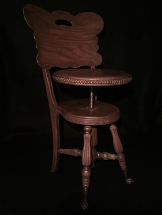 C.  1884 Chair - Back Piano Stool Made By H.  D.  Bentley Co.  Fremont,  Chicago photo