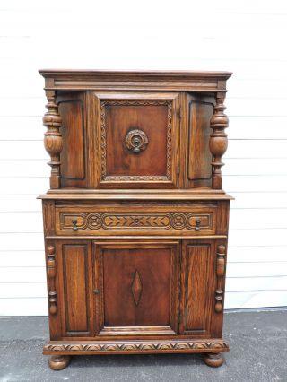 Carved Jacobean Oak Curio Cabinet China Closet 6332a photo