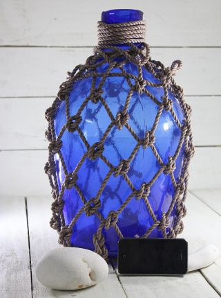 Antigue,  Glass Pirates Rum Jug In Rope Netting 19
