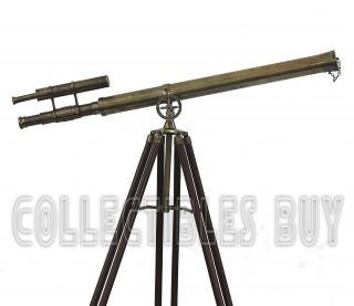 Antique Victorian Marine Brass Vintage Double Barrel Telescope Wooden Tripod photo