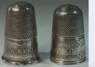 Two Victorian Sterling Silver A Keepsake & Forget - Me - Not Thimbles,  Ca.  1860 photo