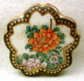Antique Meiji Satsuma Button Colorful Flowers W/ Flower Shaped Border 1 & 1/16
