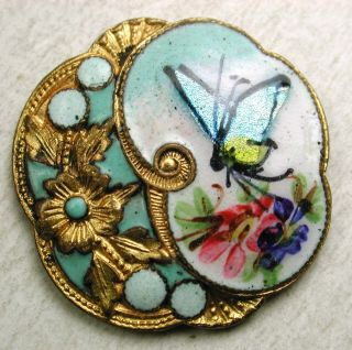 Antique French Enamel Foiled Butterfly W/ Turquoise Pierreries Accents - 7/8
