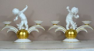 Rare Pair Art Deco Figurine Candle Holder S 1931 K.  Tutter For Hutschenreuther photo