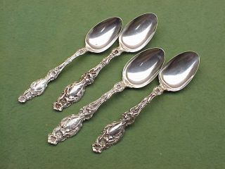 4 Whiting Lily Sterling Silver Spoons Old Marks Pat.  1902 R ' D 1902 photo