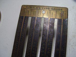 Vtg Large Turtle ' S Standard Type Gauge Brass Printer ' S - Type Setter ' S 24