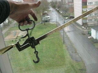Antique Estonian Hanging Balance Beam Scale Brass With Hook Vega Patent photo