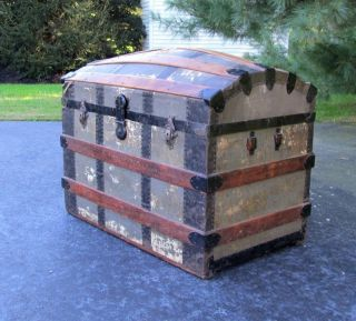 Large Shabby Vintage Antique Wood Metal Dome Top Steamer Trunk Chest photo