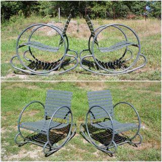Vintage Pair Art Deco Lawn Patio Garden Tubular Metal Hoop Rocking Chairs C.  1930 photo