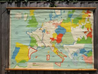 A Vintage Pull Down School Map Of Europe In 1300 To 1500 Circa 1960 photo