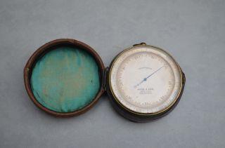 Antique Brass Cased Pocket Barometer Adie & Sons Edinburgh photo
