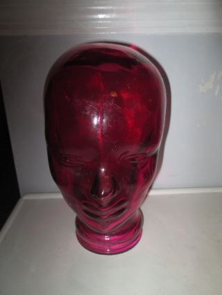 Vintage Mid Modern Retro Magenta Red Glass Head Face Mannequin Display Spain photo