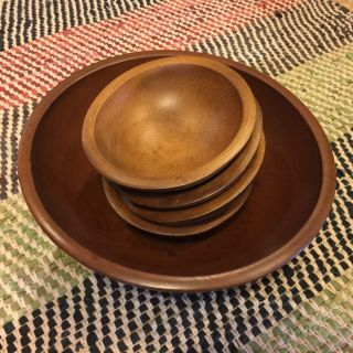 Mid - Century Vintage Woodcraftery Wood Large Footed Serving Bowl & 4 Salad Bowls photo