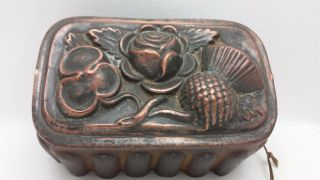 Antique Victorian Copper Jelly Aspic Mold Mould Scottish Thistle Rose Shamrock photo
