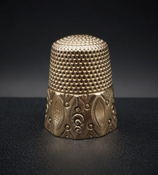 Antique Henry H.  Muir ' S Sons 14k Rose Gold 10 Panel Faceted Beaded Thimble M376 photo