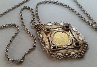 Antique Ottoman Gilded Silver Filigree Medallion & Necklace,  Gold Coin Xixcent. photo