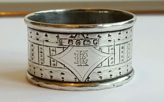 A Very Stylish Victorian Solid Silver Napkin Ring Sheffield 1870 photo