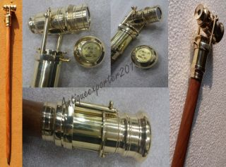 Wooden Walking Stick With Brass Telescope On Handle 38