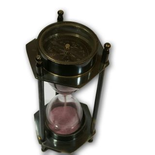 Brass Art Vintage Desk Décor Compass Timer Hourglass Sand Clock Afusf St 015 photo