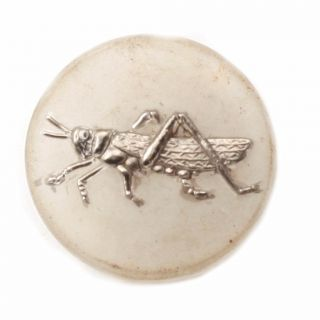 (1) 23mm Vintage Czech Art Deco Silver Grasshopper Crystal Glass Button Signed photo