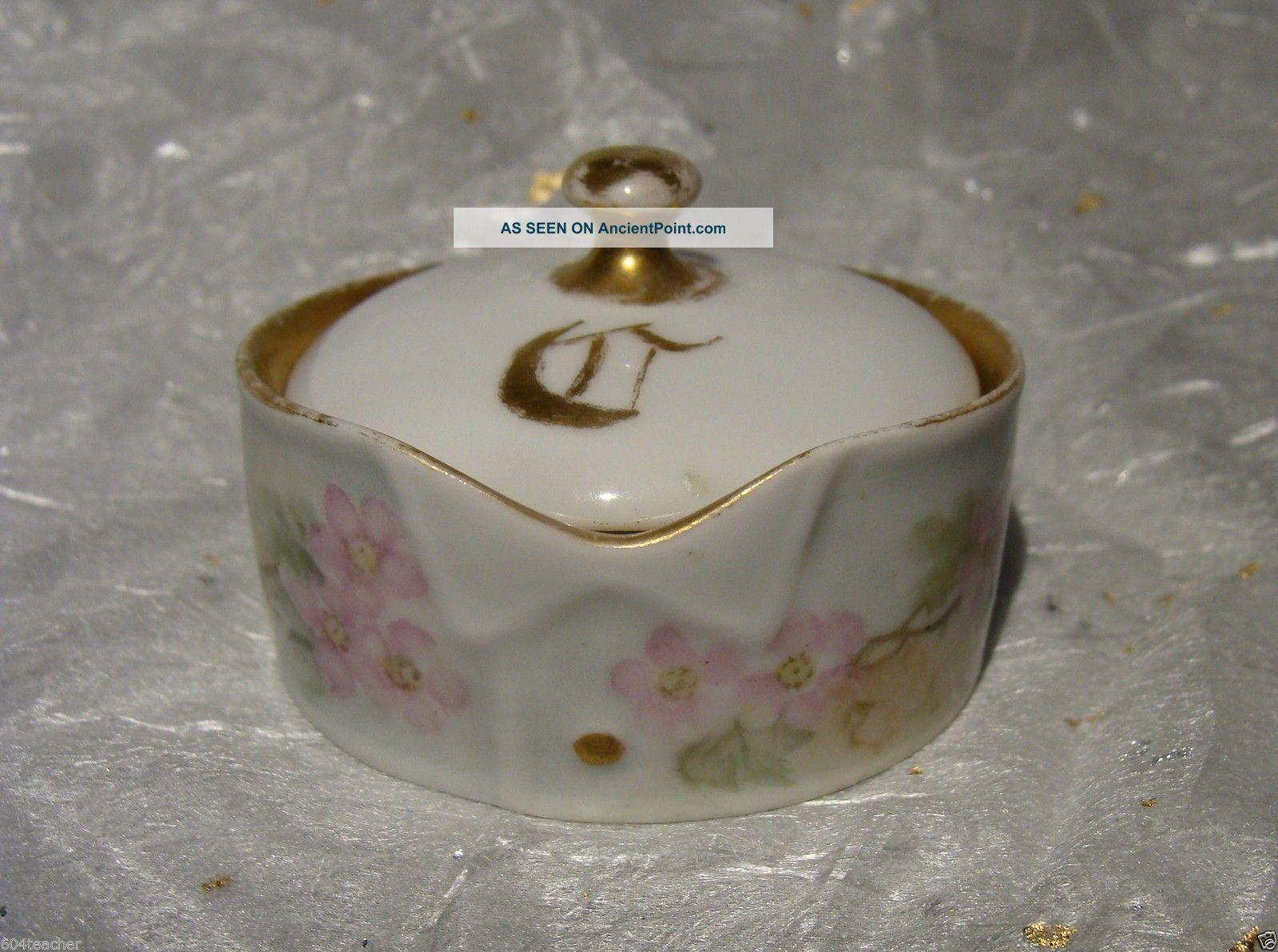 Antique German Hand Painted Porcelain Stud Collar Button Box Austria Germany Baskets & Boxes photo