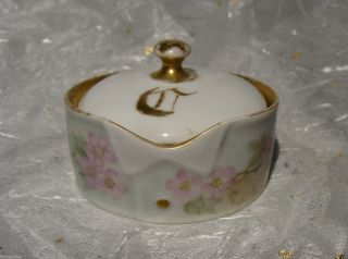 Antique German Hand Painted Porcelain Stud Collar Button Box Austria Germany photo