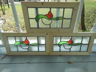 Ma8 - 228 Lovely Old Leaded Stain Glass Window F/england Reframed 3 Available photo