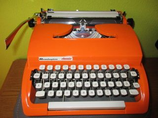 1968 Remington Classic Typewriter In Bright Orange Color With Case photo