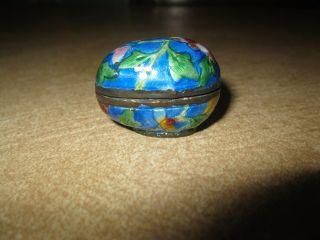 Antique Rare Chinese Enamel Cloisonne Egg Case Holder Thimble Floral Vtg Export photo