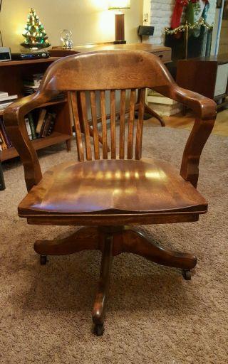Antique Vintage B L Marble Oak Wood Swivel Chair Banker ' S Arm Office Desk photo