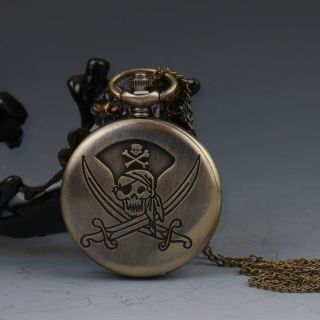 Oriental Collectible Brass Handwork Skull And Crossbones Pocket Watch G522 photo