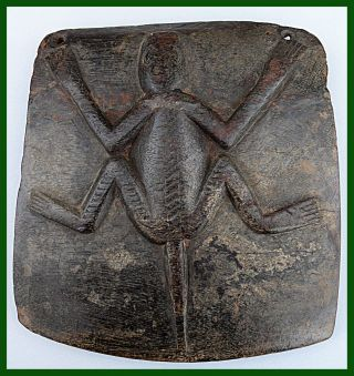 Protective Wooden Plaque With Lizard In Relief,  Nupe Tribe,  Nigeria photo