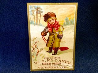 Dr.  Mclane ' S Liver Pills Child Sled Victorian Trade Card Easton Pa Drug Store photo
