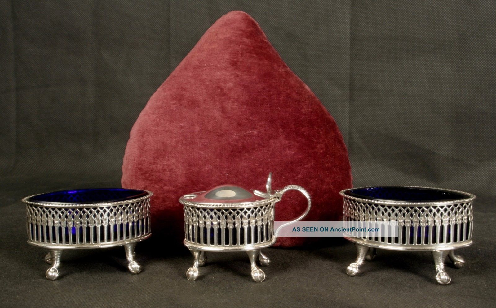 Antique Boat Shaped Silver Plated Salts & Matching Mustard Bristol Blue Liners Salt & Pepper Cellars/Shakers photo