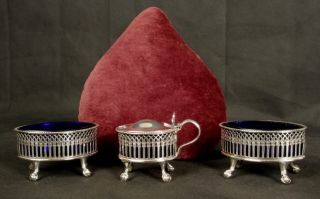 Antique Boat Shaped Silver Plated Salts & Matching Mustard Bristol Blue Liners photo