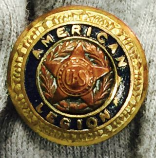 Antique American Legion Blue Brass Metal Button Dec 8 1919 W.  B.  Co Us Star 1/2