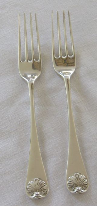 2 Stieff Sterling Silver Williamsburg Shell Dinner Forks - Pair 3 photo