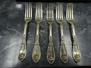 5 Vintage 1881 Rogers A1 Silverplate Forks La Vigne Pattern Lavigne photo